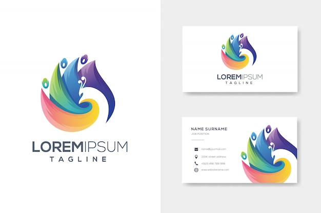 Colorfull abstract peacock logo with business card Premium Vector