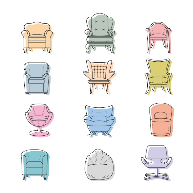 Colorfull armchairs vector isolated icons set Premium Vector
