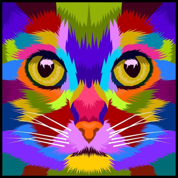 Colorfull close up cat premium Premium Vector