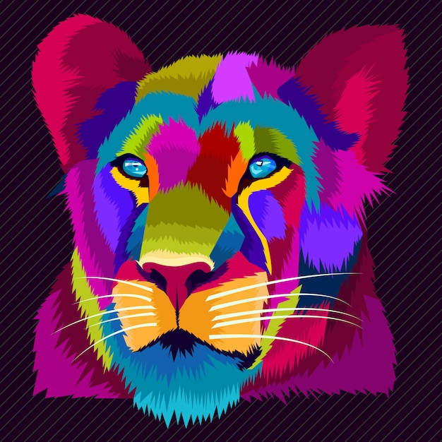 Colorfull lion pop art vector Premium Vector