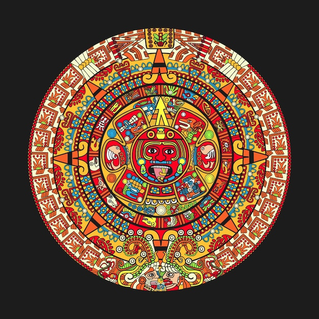 Colorfull maya aztecカレンダー Premiumベクター