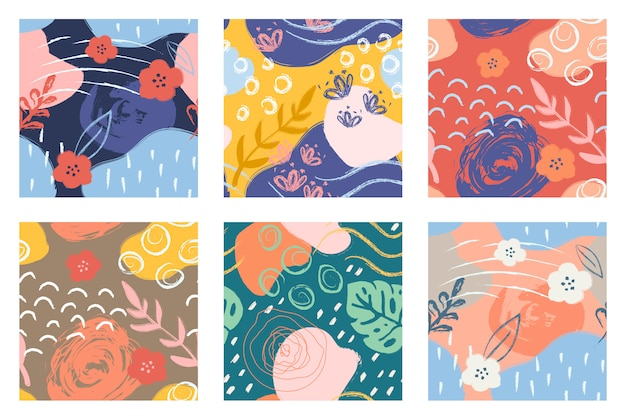 Colorfull seamless patterns with brush strokes. Premium Vector