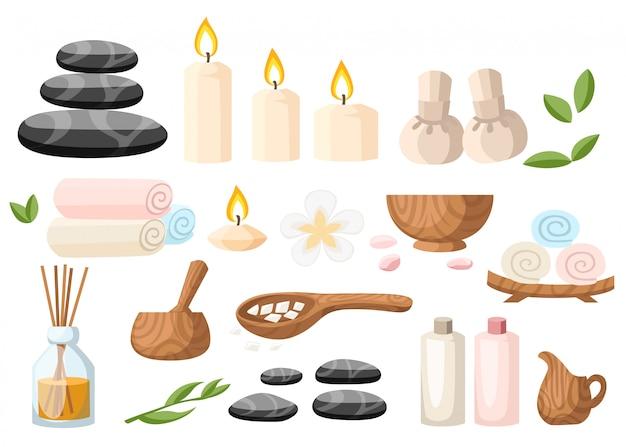 Красочный спа-инструменты и аксессуары черные базальтовые массажные камни, травяной раствор, свернутый полотенце, масляный гель и свечи, иллюстрация на белом и синем фоне Premium векторы