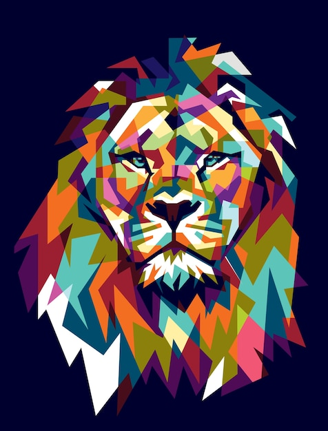 Colorfully lion Premium Vector