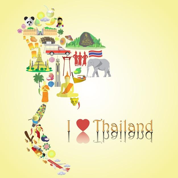タイ地図。 coloriconsとシンボルを地図の形で設定する Premiumベクター