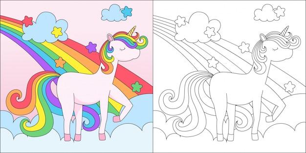 Coloring adorable unicorn Premium Vector