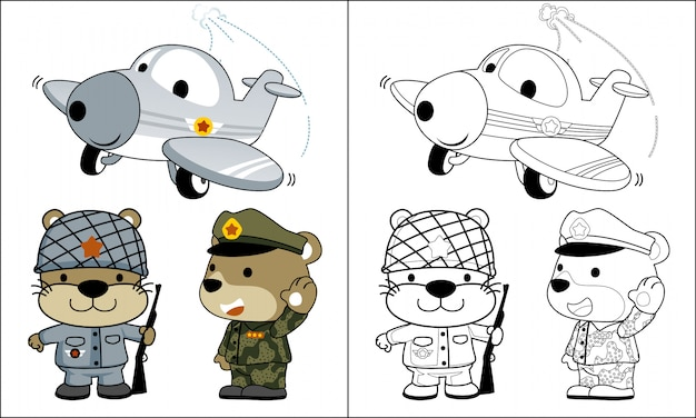 Coloring animals army cartoon with funny plane Premium Vector