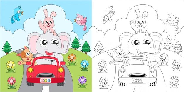 Раскраска животных на машине Premium векторы
