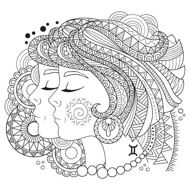 Premium Vector Coloring Book For Adults. Silhouette Of Gemini On White  Background. Zodiac Sign Gemini