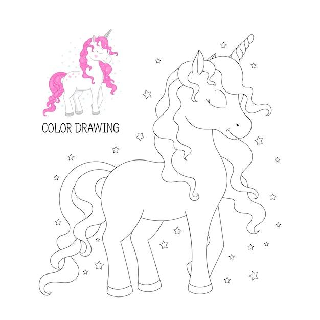Coloring book for children. beautiful outline unicorn Premium Vector