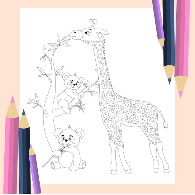 Coloring book for children. cute giraffe and pandas in cartoon style. Premium Vector