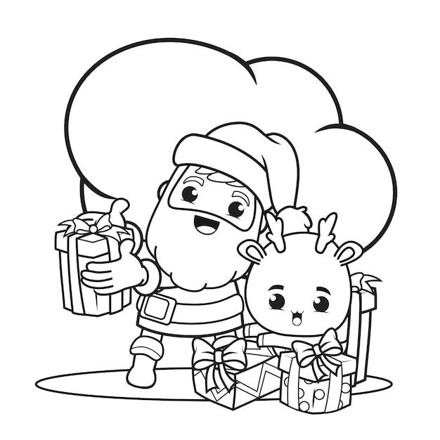 サンタクロースとかわいい鹿の塗り絵クリスマスの日 Premiumベクター