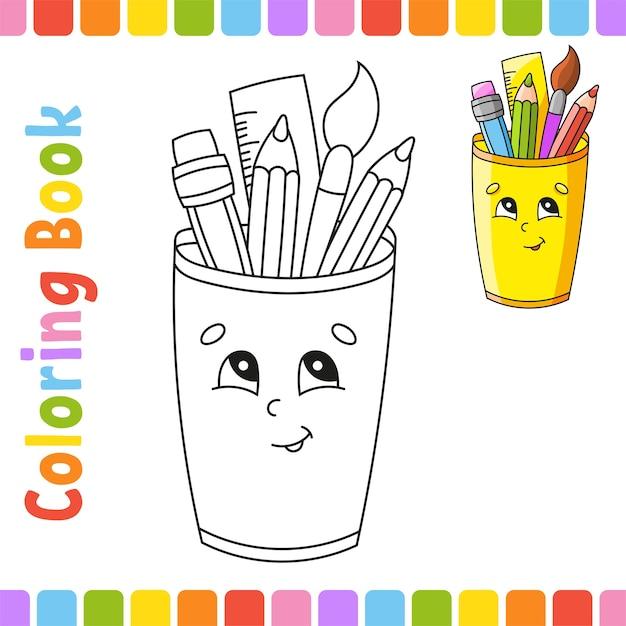 Книжка-раскраска для детей. обратно в школу. веселый характер. Premium векторы