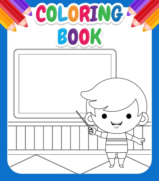 아이들을위한 색칠하기 책. 포인터와 분필 보드 앞의 그림 귀여운 소년 교육 알파벳 프리미엄 벡터