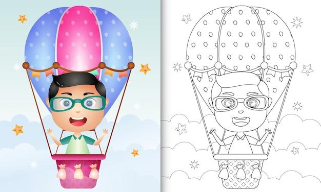 Книжка-раскраска для детей с милым мальчиком на воздушном шаре Premium векторы