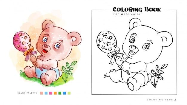 장난감 수채화 그림을 재생하는 귀여운 곰의 색칠하기 책 프리미엄 벡터
