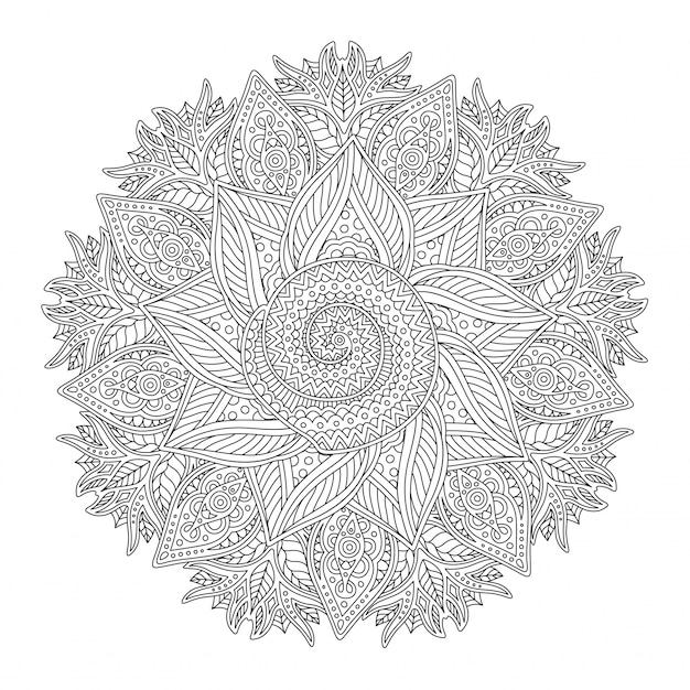 Coloring book page with abstract linear round pattern Premium Vector