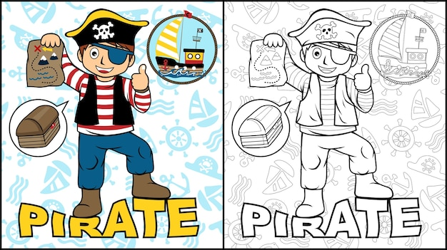 Coloring book or page with boy on pirate costume Premium Vector