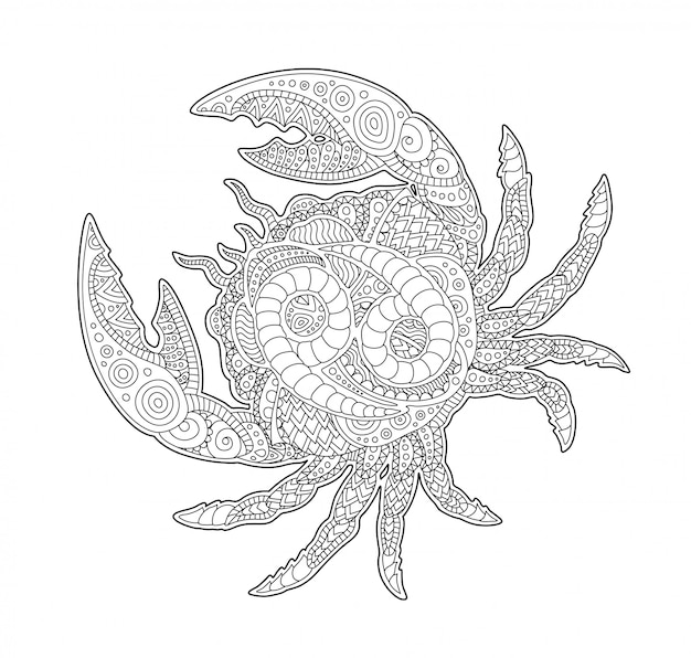 Coloring book page with cancer and zodiac symbol Premium Vector