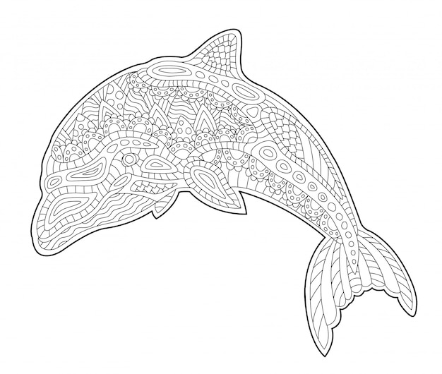 Coloring book page with cute stylized dolphin Premium Vector
