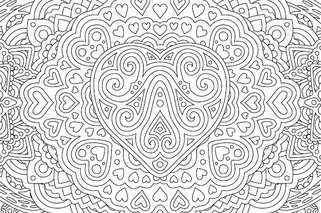 Coloring book page with different heart shapes Premium Vector