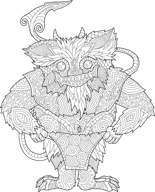 Coloring book page with funny cartoon monster Premium Vector