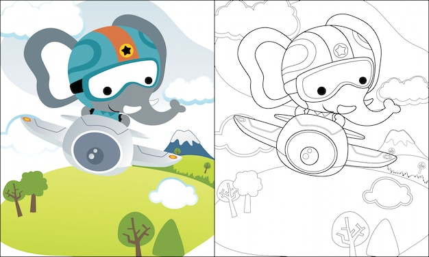 Coloring book or page with funny elephant cartoon on plane Vector ...