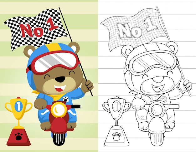 Coloring book or page with funny motor racer cartoon Premium Vector