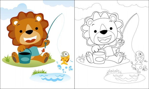 Coloring book or page with lion cartoon fishing Premium Vector