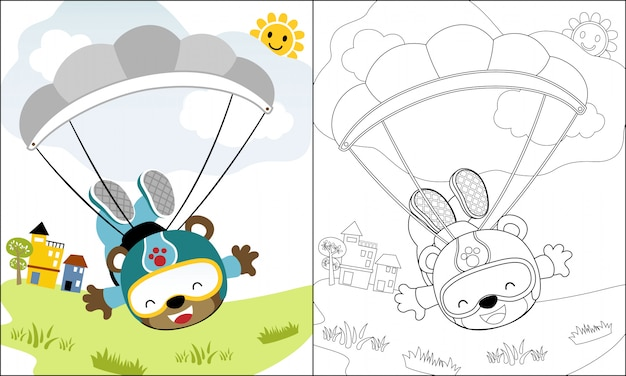 Coloring book or page with skydiver cartoon Premium Vector