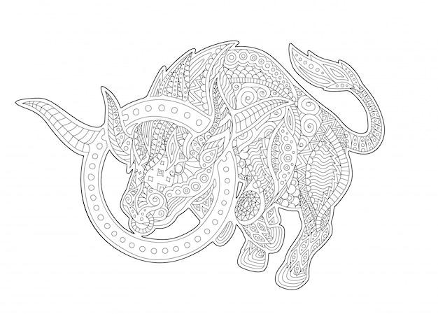 Coloring book page with zodiac symbol taurus Premium Vector