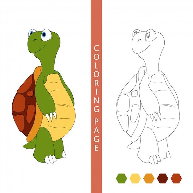Раскраски для детей. мультфильм черепаха Premium векторы