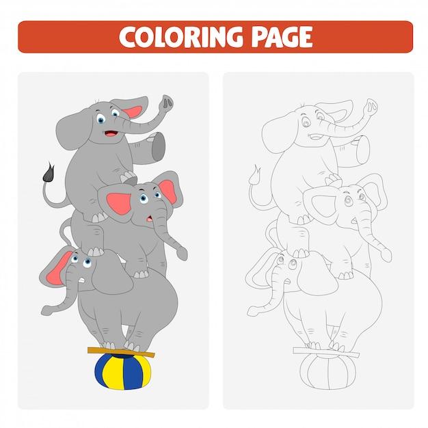 Раскраски для детей. мультфильм слон Premium векторы