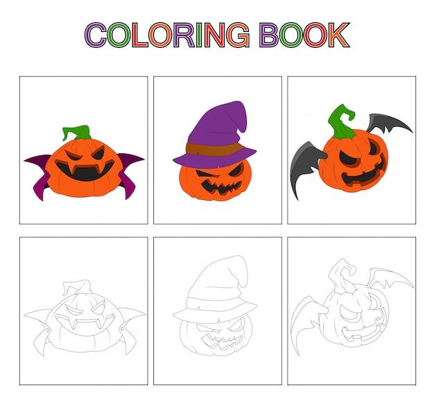 Раскраски для детей. тыква мультфильм Premium векторы