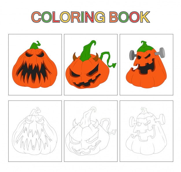 Premium Vector Coloring Book Pages For Kids Pumpkin Cartoon