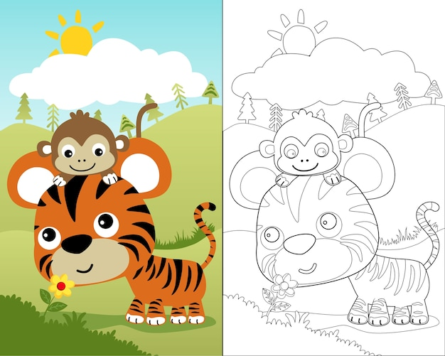 Coloring book vector of little tiger with monkey Premium Vector