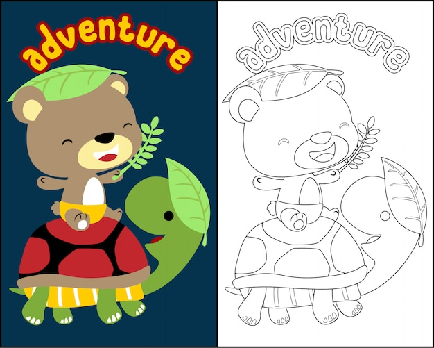 Coloring book vector with cute animals cartoon Premium Vector
