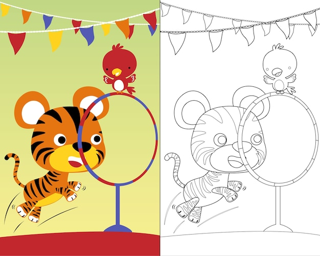 Coloring book vector with cute animals circus show Premium Vector