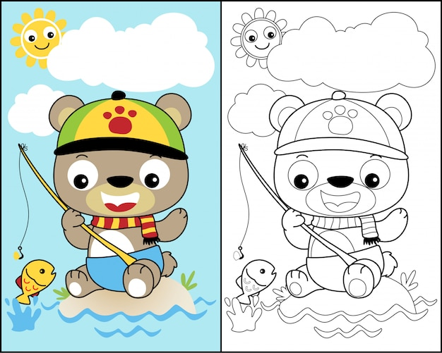 Coloring book vector with little bear Premium Vector