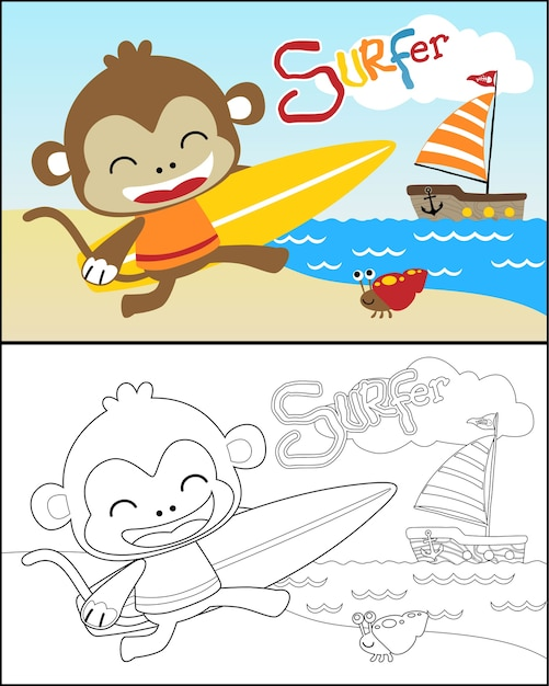 Coloring book vector with little monkey cartoon Premium Vector