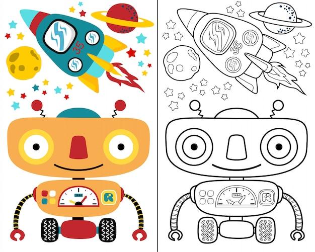 Coloring book vector with robot space cartoon Premium Vector
