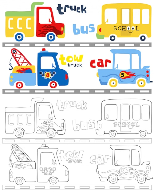 Coloring book vector with vehicles cartoon Premium Vector