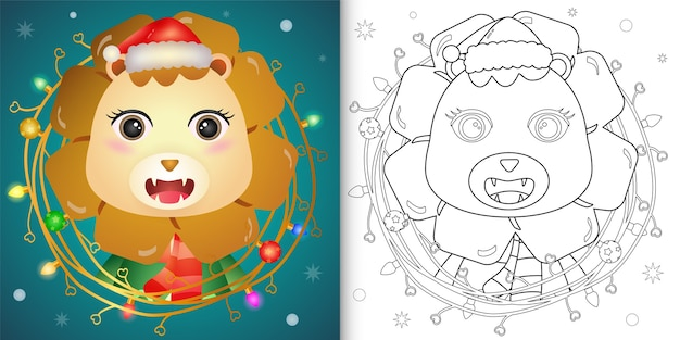 小枝の装飾が施されたかわいいライオンの塗り絵クリスマス Premiumベクター