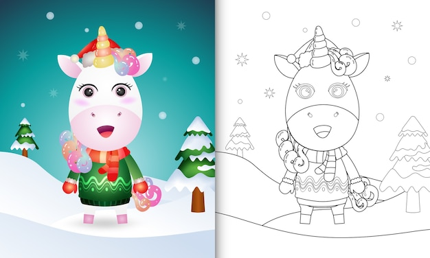 サンタの帽子、ジャケット、スカーフとかわいいユニコーンのクリスマスキャラクターの塗り絵 Premiumベクター