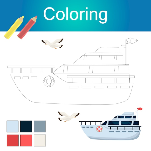 Coloring book with animals outline artwork page Premium Vector