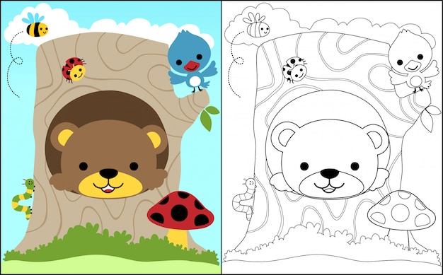 Coloring book with baby bear and little friends Premium Vector