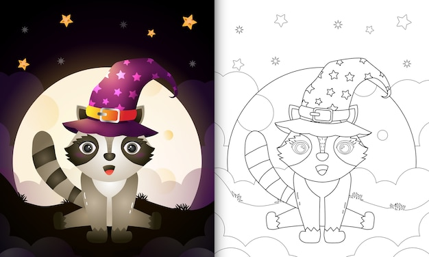 Coloring book with a cute cartoon halloween witch raccoon front the moon Premium Vector