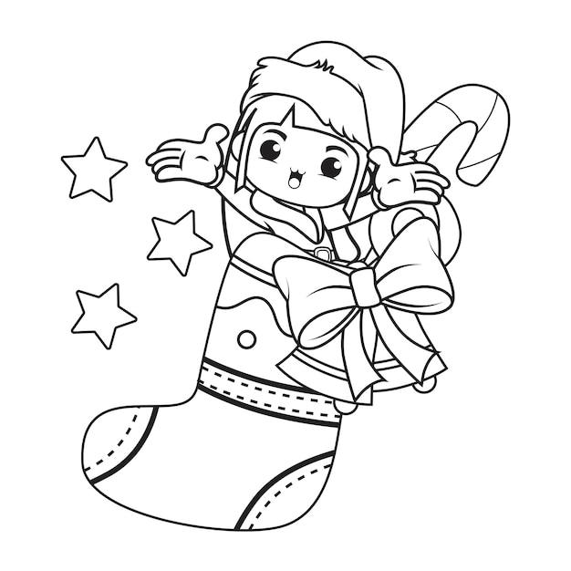 かわいい女の子のクリスマスキャラクターの塗り絵 Premiumベクター