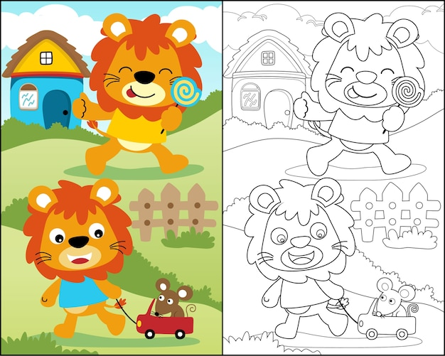 Coloring book with funny lion cartoon Premium Vector