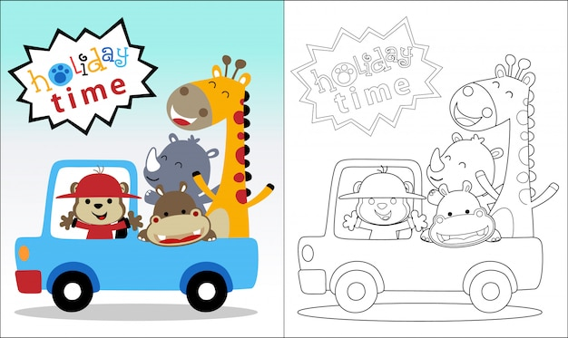 Coloring book with happy animals on vehicle Premium Vector